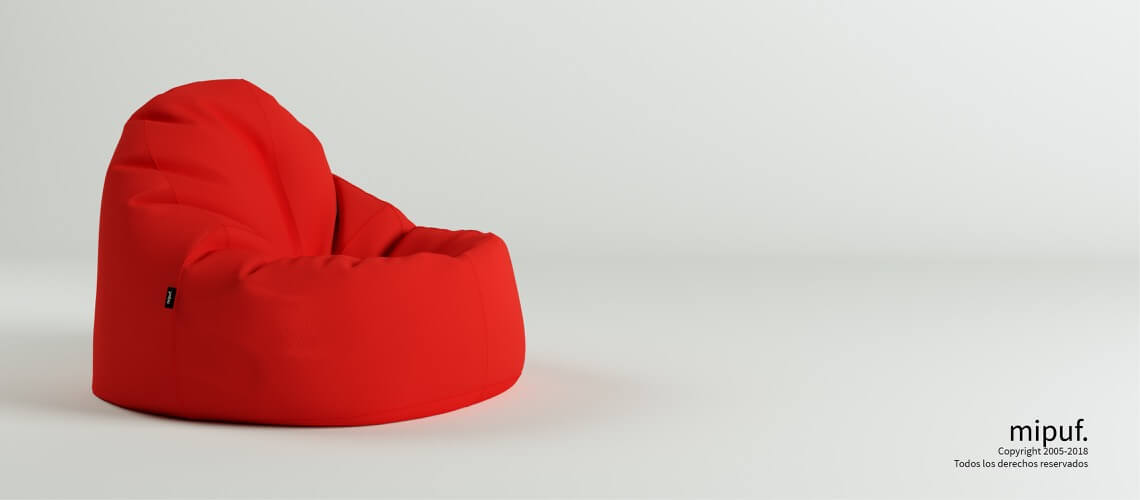 Puf Lounge - Poliester rojo