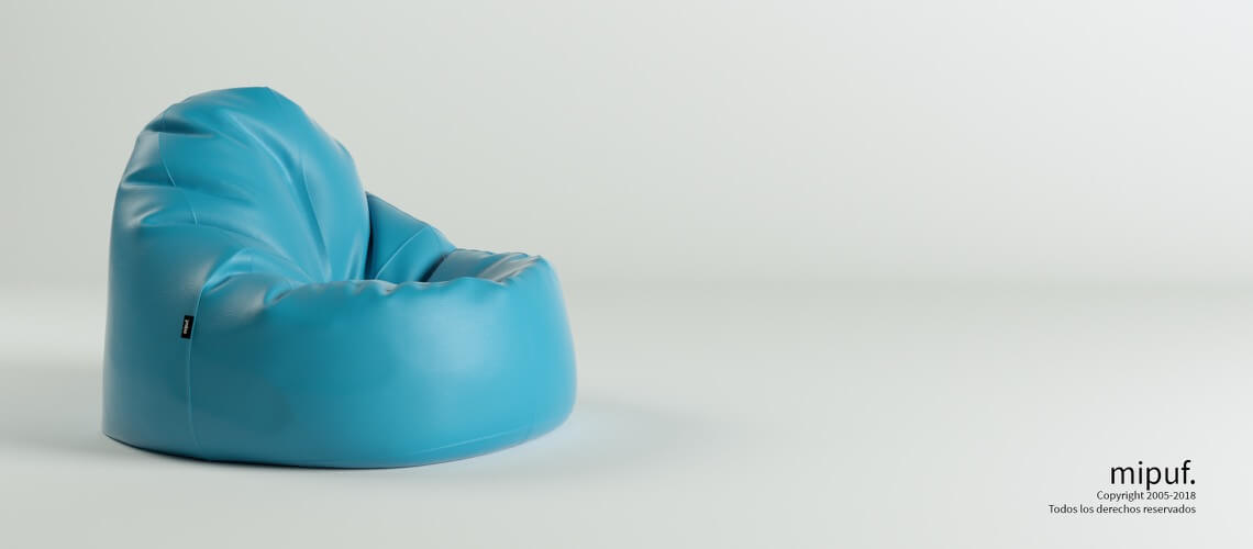 Puf Lounge - Polipiel Azul Turquesa