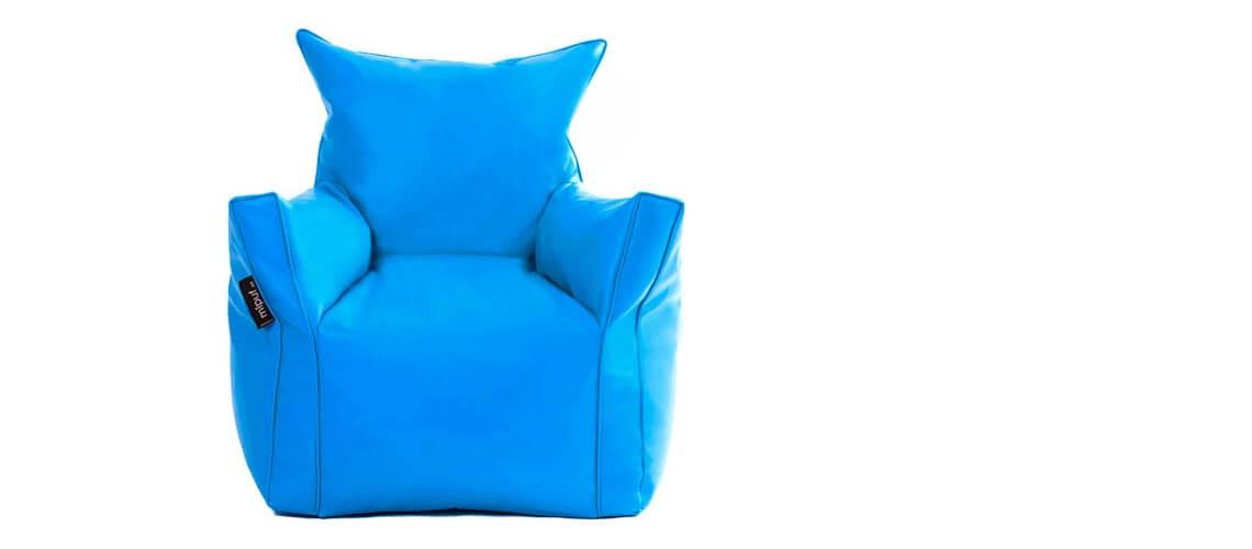 Sillón Puf Martina Polipiel Azul Turquesa