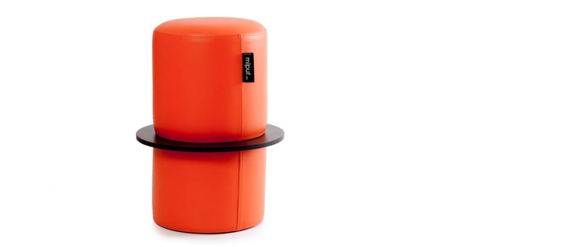 Puff Taburete Cóctel Tubular Polipiel Naranja