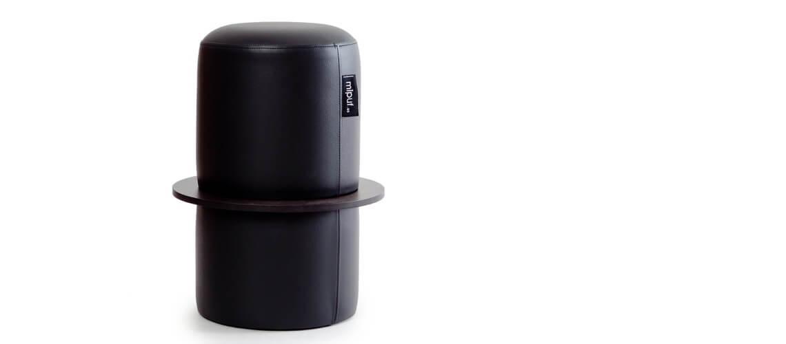 Puff Taburete Cóctel Tubular Polipiel Negro