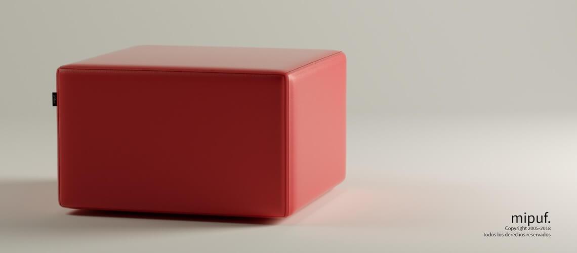 Puff Cuadrado Cube 75x75 - Polipiel Rojo